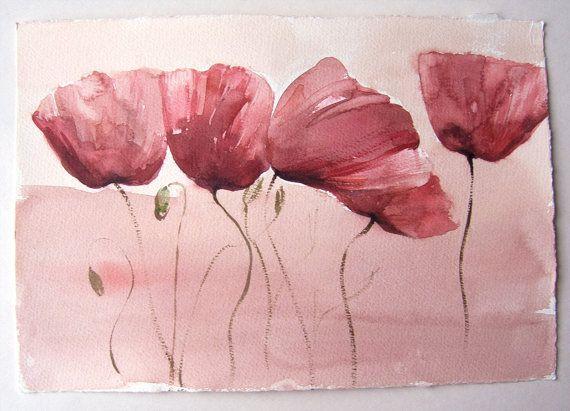 Poppy watercolour painting of Fields of Poppies. от rakla на Etsy