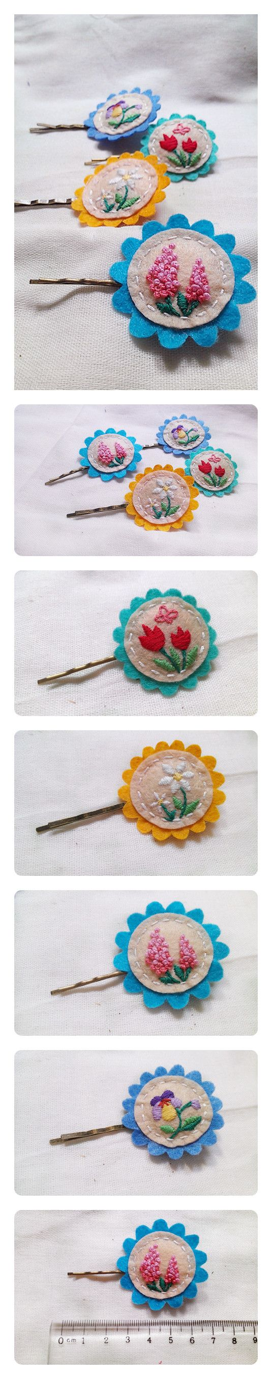 felts hairpins (would be cute as buttons) WHENI HAVE  NOTHING TO DO AND AM BORED, TRY MAKING SOME OF THESE FOR  THE KIDS (LITTLE GIRLS) FOR HAIR PINS