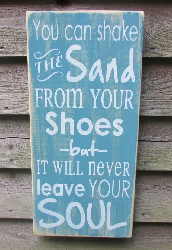 "This shabby chic primitive rustic sign, is great for your beach home, sign measures 11 1/4 "" X 24"". it is painted aqua, with white lettering, and is distressed to give a vintage look. It comes with a"