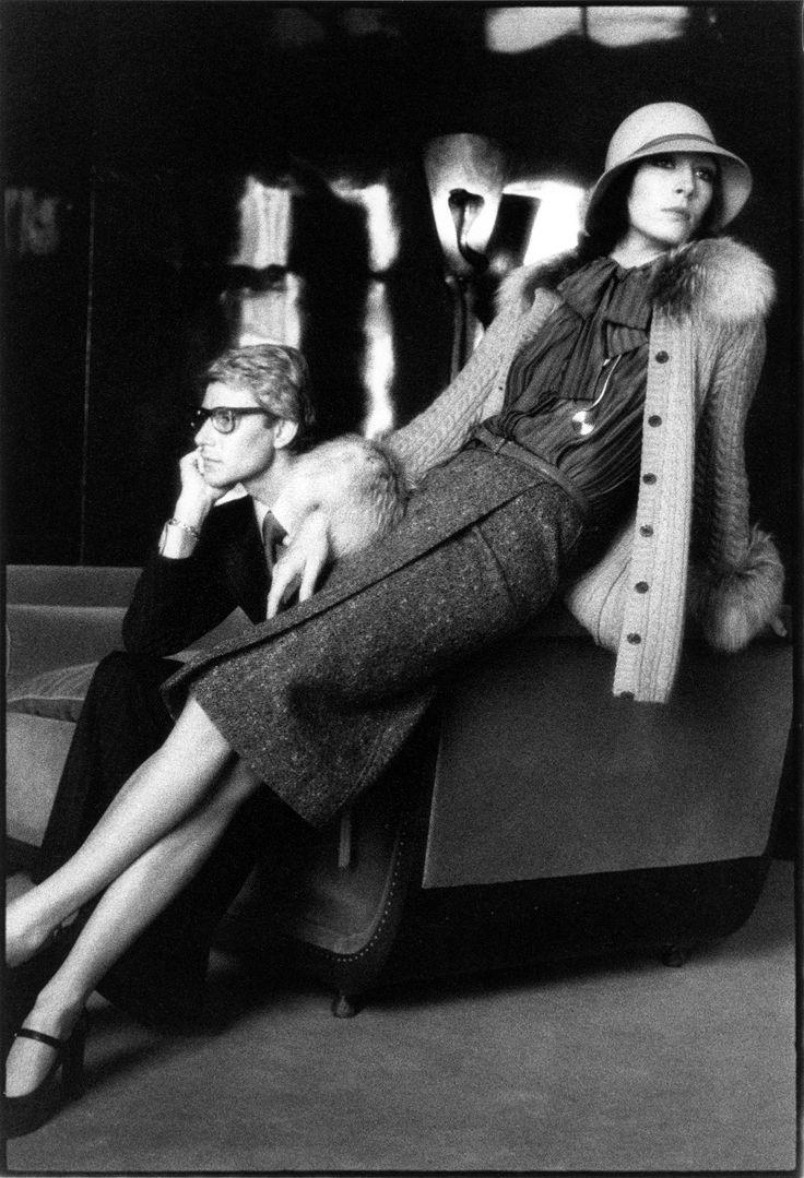 Yves Saint Laurent and Anjelica Huston, photographed by David Bailey, 55 rue de Babylone, Paris, 1973.