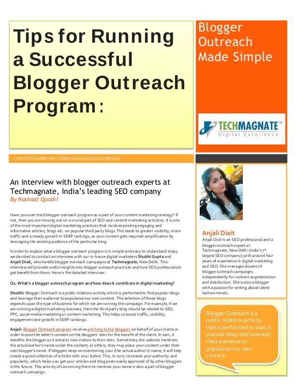 Tips from blogger outreach experts on how to run a success campaign:  http://www.techmagnate.com/blog/tips-for-running-a-successful-blogger-outreach-program/