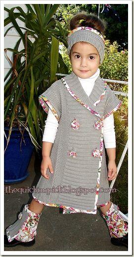 Een jurkje, gemaakt van een groot vest. Goede tips om het uitrafelen van het breiwerk te voorkomen!