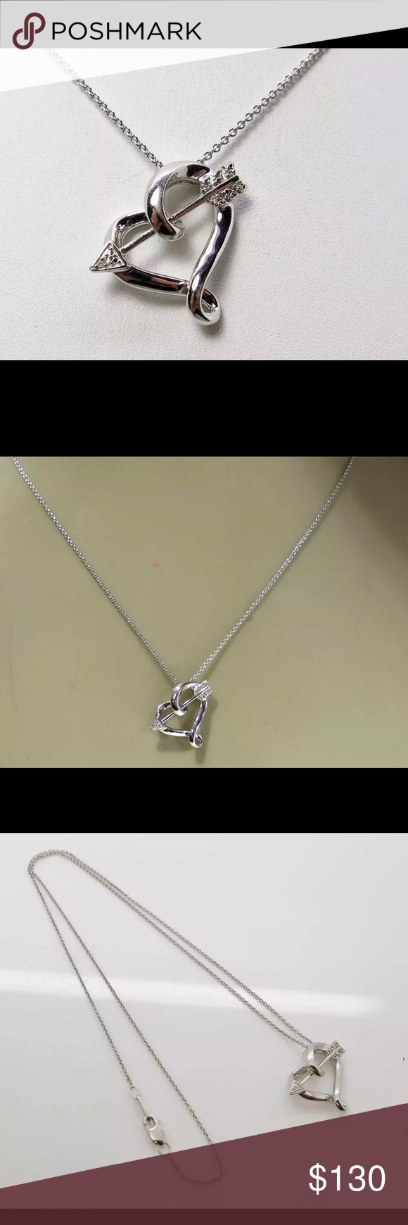 """Solid 925 SS genuine diamond heart necklace Beautiful!!! Solid 925 Sterling Silver genuine diamond heart necklace 4.4g with 18"""" chain 925 Jewelry Necklaces"""