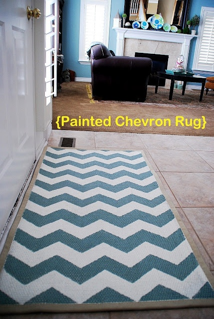 Painted Chevron Rug Reveal- involves sanding when done.  Good idea!