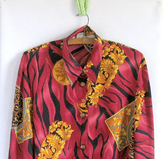 Vintage 80s  Black and Gold Button Up Baroque Boxy Blouse