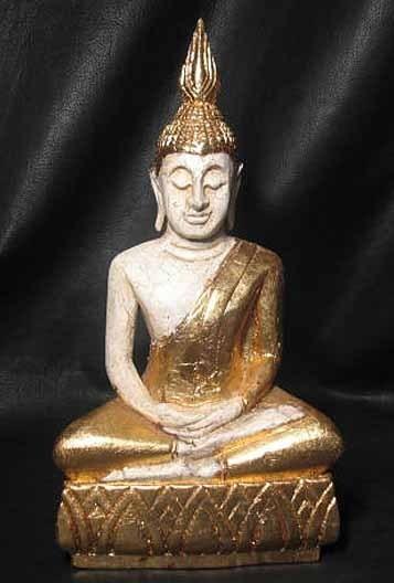 "15"" Hand Carved Gilt Monkey Pod Wood Samadhi Sukhothai DhyAna Mudra Thai Buddha"