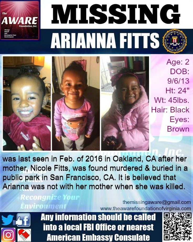 ARIANNA FITTS, 2 (soon to be 3), was last seen in February of 2016 and reported missing in April 2016 after her mother, Nicole Fitts, was found murdered and buried in a public park in San Francisco, CA. Any information should be directed to your local FBI Office or the nearest American Embassy Consulate. #missing #missingperson
