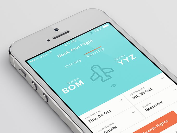 Flight Booking iPhone App Design #iphone #app #design #appdesign #inspiration #interface #UX #UI #GUI http://ramotion.com #ramotion #dribbble #behance #mobile #iOS7 #flatdesign