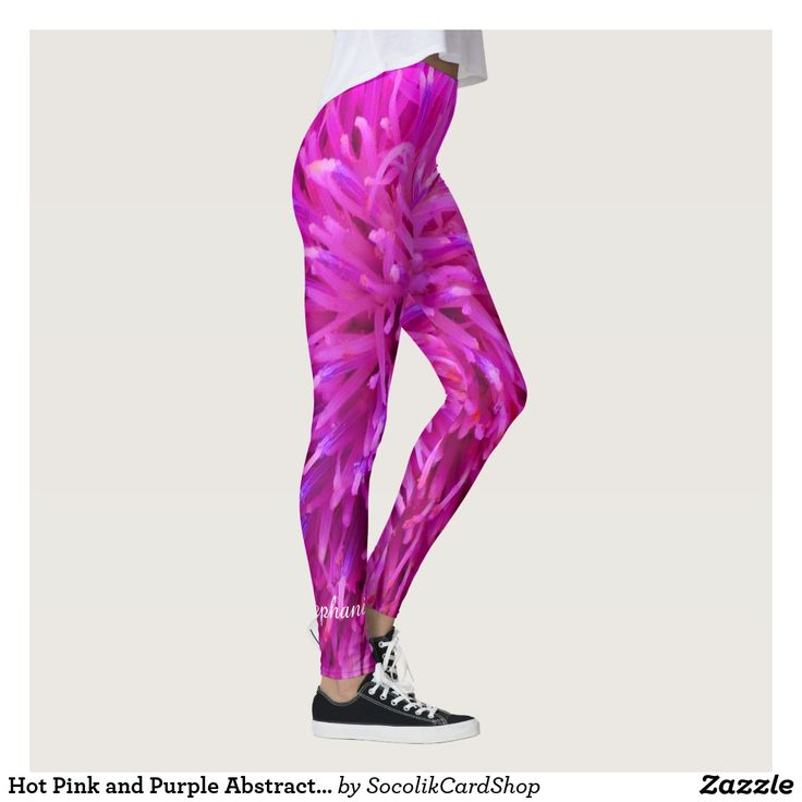 Hot Pink and Purple Abstract, Personalized Name Leggings These unique, FUN leggings are decorated with our original abstract hot pink and purple photograph (actually a closeup of a flower). It's a modern, contemporary, multi-color, vibrant, fun design. Perfect for Back to School or Christmas. Name is above ankle of Right Leg, easily personalized. All Rights Reserved © 2017 Alan & Marcia Socolik.