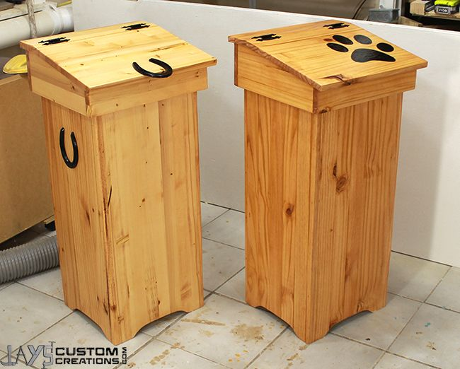 Cool wooden trash cans from JaysCustomCreations.com