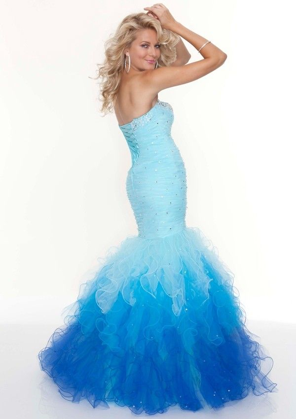 Sweetheart Brush Train Organza Trumpet Mermaid Blue Prom Dress Opa0032