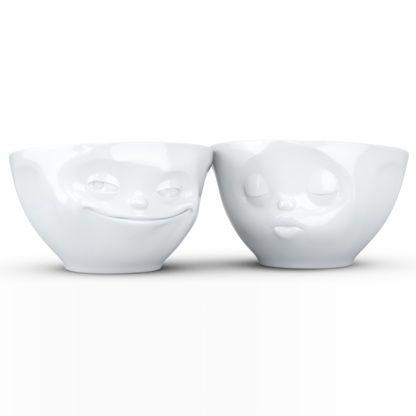 Tassen Medium Bowls Set No.1 - Grinning & Kissing, White - Kitchenique
