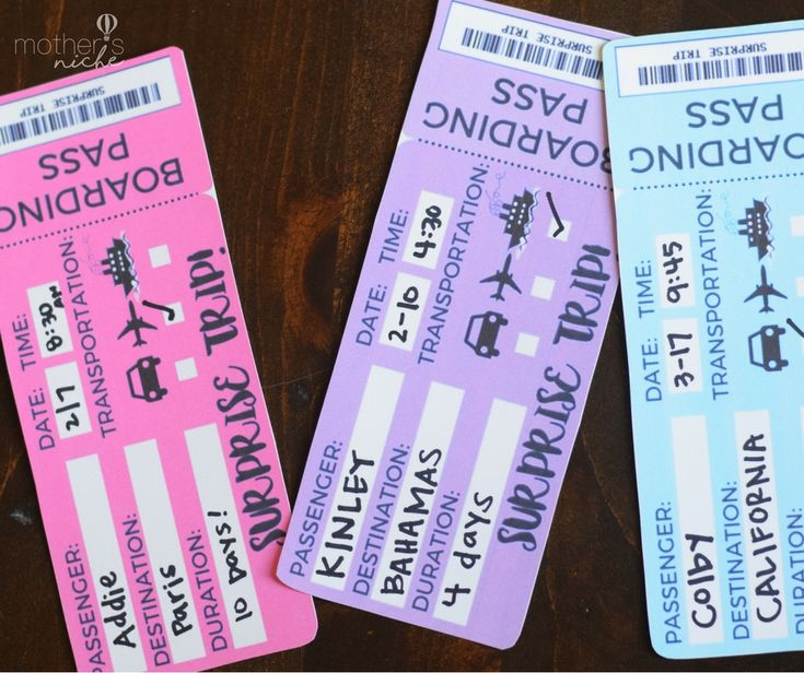 Free Printable Tickets Template for Gifting a vacation