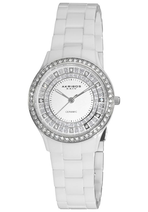 Price:$127.29 #watches Akribos XXIV AK509WT, This dazzling Akribos XXIV ladies' ceramic fashion timepiece features a bezel adorned with dazzling crystals. The sunray dial and sparkling glitter makes this a luxurious timepiece.