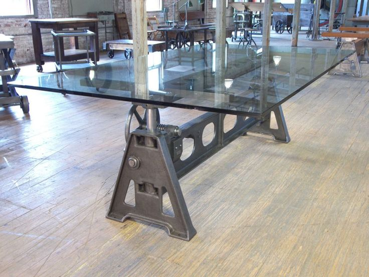 Stunning dining table vintage cast iron glass adjustable for Cast iron and glass dining table