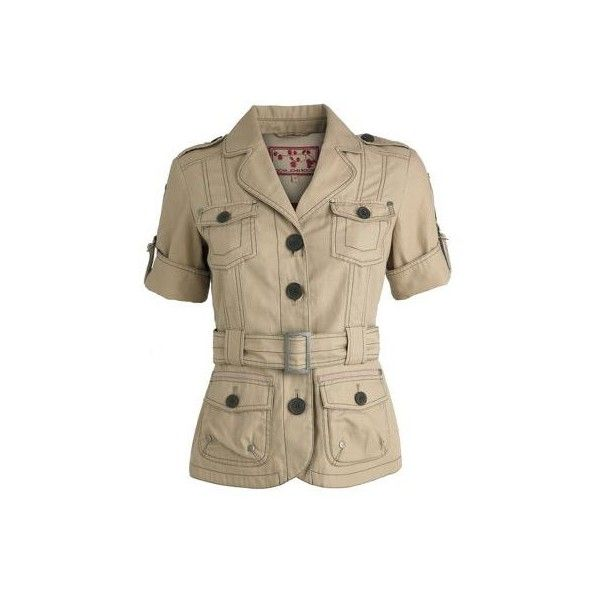 Natural safari jacket ($20) ❤ liked on Polyvore featuring outerwear, jackets, tops, safari, blusas, women, women's tops, multi pocket jacket, buckle jackets and brown jacket