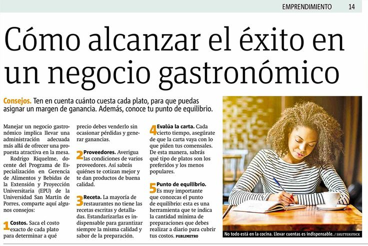 Cómo alcanzar el éxito en un negocio gastronómico. Diario Publimetro.
