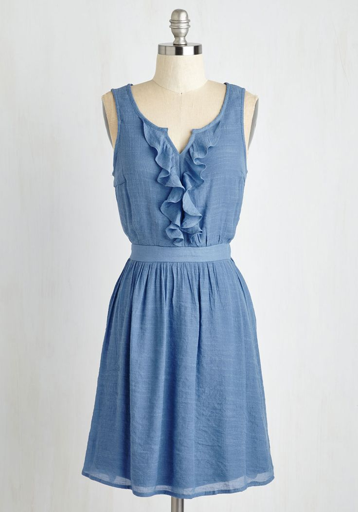 Window Shopping Chic Dress. As you strut down Main Street, you look precious peeking at storefronts in this smoky blue frock! #blue #modcloth
