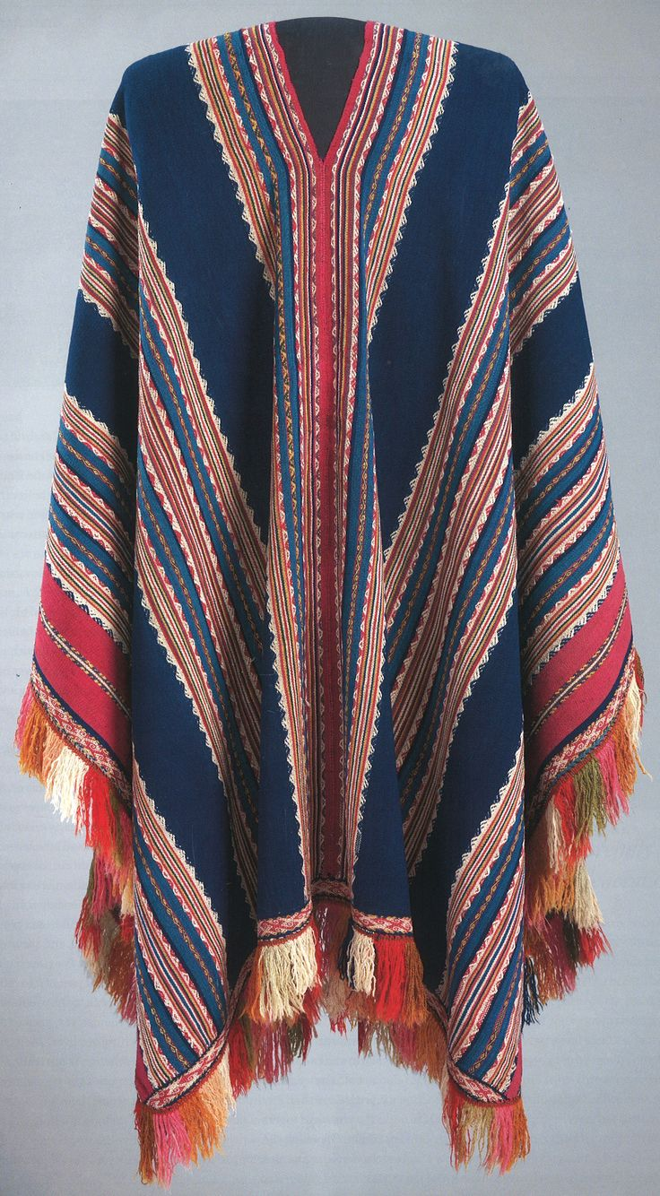 Quechua Balandran-style poncho, Bolivar region, Arque province, Cochabamba department, Bolivia, 17th-18th century. The blue field with five bands (listados), and extensive supplementary design elements called border using pre-Columbian designs. Warp-faced alpaca plain weave with stripes of complementary warp weave, separate central panel, separate woven border and woven fringe. Hali, Issue 180 Summer 2014