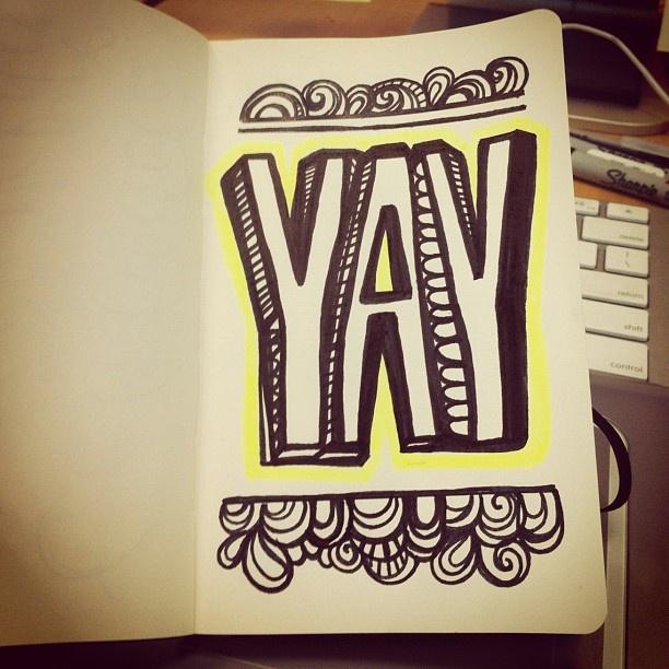 YAY! #lettering #letteringdaily #doodle #sharpie #moleskine - @magicmaia- #webstagram: Letteringdaily Doodle, Letter Things, Alphabet Funky Letters, Journal Inspiration, Art Journals, Handwritten Letters, Hand Lettering