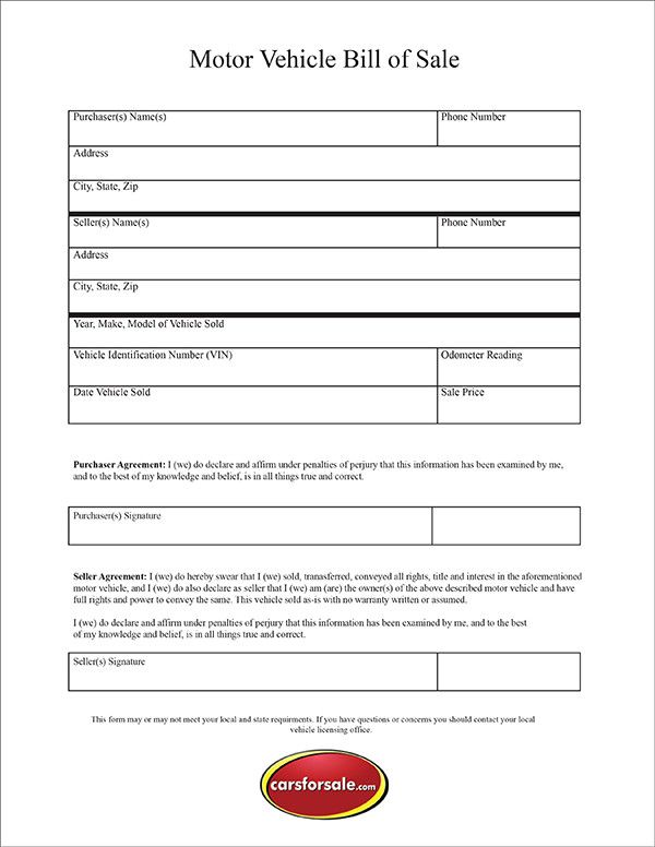 Bill Of Sale For Car In Ga Bill Of Sale Template Bills Used Cars Online