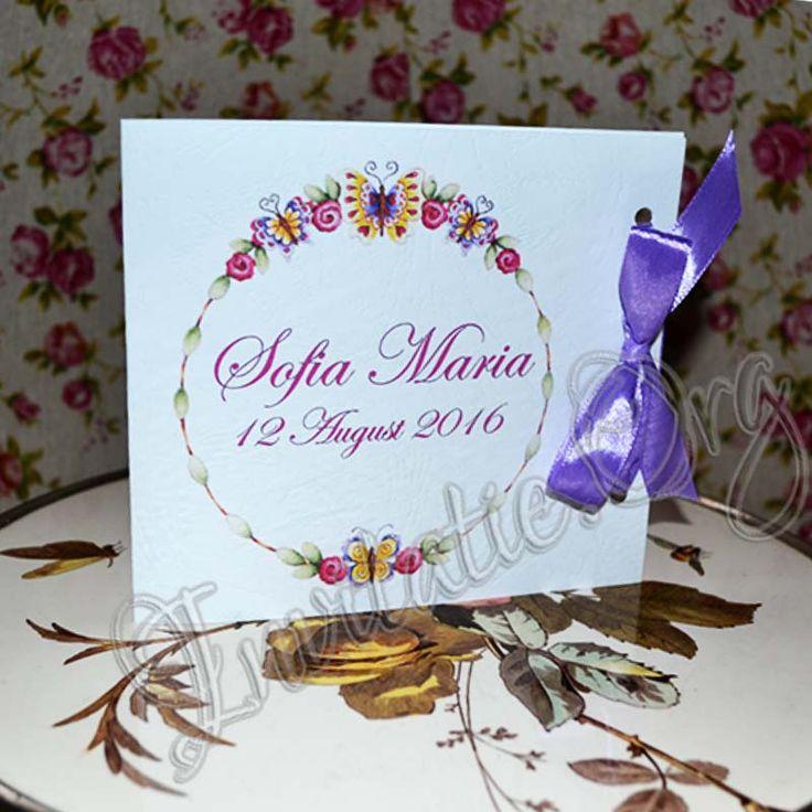 Invitatie Handmade cu coronita din flori si fluturi!