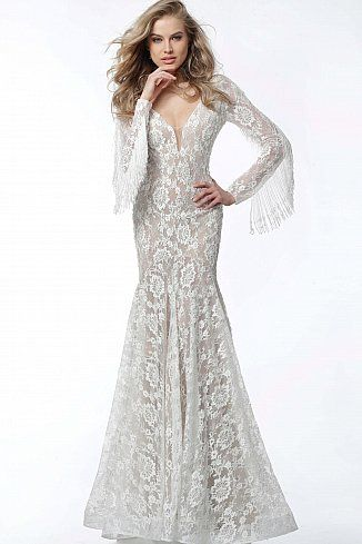 d99019531bbc Off White Nude Embellished Lace Long Sleeve Evening Dress 63155 #Jovani  #EveningDress #FormalGown #BlackTie #FormalEvent #2018collection