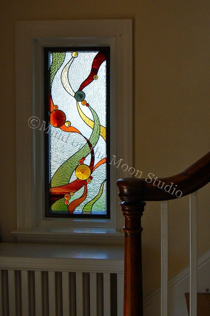 Ribbons & Rondelles stained glass window by Maid on the Moon Studio