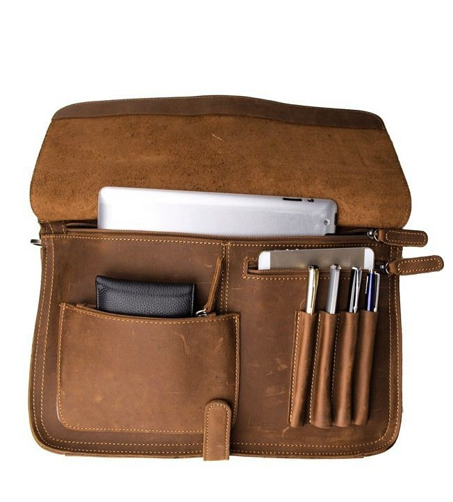 Mens Genuine Leather Briefcase Laptop Tote Bags Shoulder Business Messenger Bags(009) - Thumbnail 3