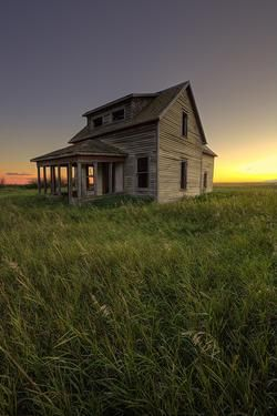 Twilight homestead at an abandoned house in Saskatchewan Canada