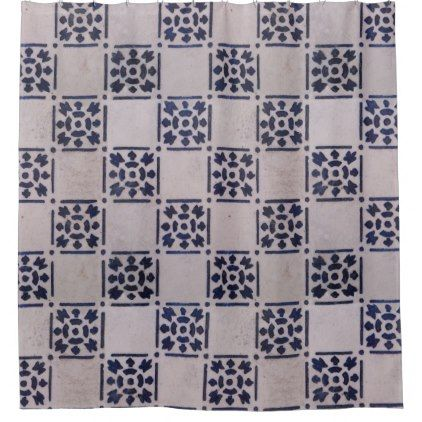 #Vintage Rustic Blue White Art Tile Pattern Shower Curtain - #Bathroom #Accessories #home #living