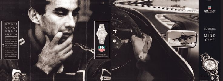 "TAG HEUER - Ayrton Senna  ""Don't crack under pressure"" Campaign . The concept was that a champion's successes are as much due to his mental strength as to his physical capacities."