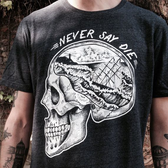 man t-shirt with skull print with sailor Dawn Treader and seascape. Printing on high quality t-shirt, unisex fit.