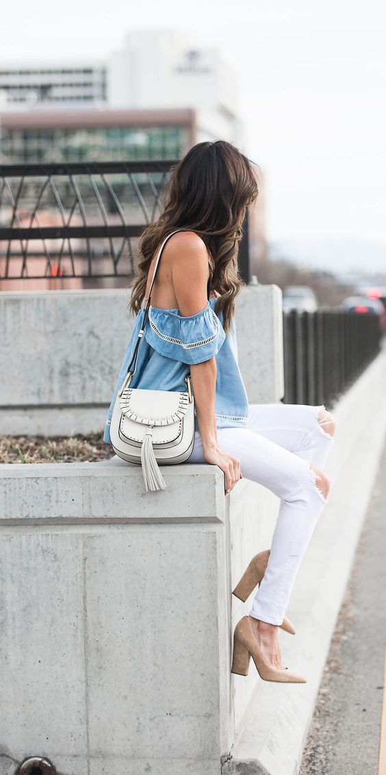 Spring Style // Off shoulder top with white ripped jeans.