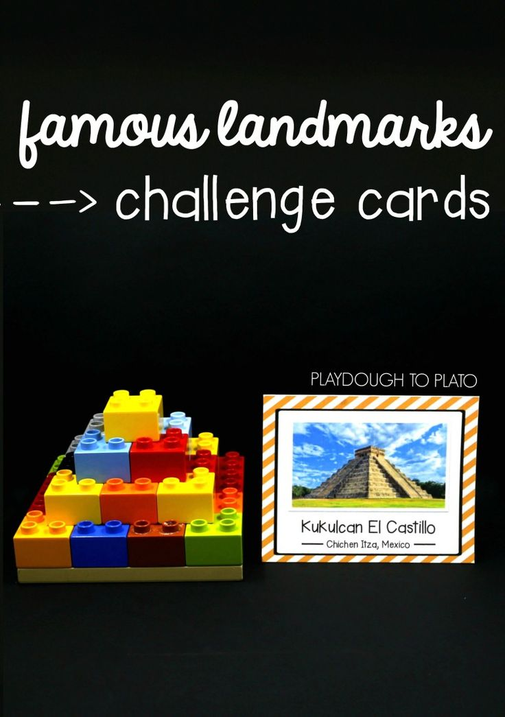 Awesome STEM challenge! Build famous landmarks from around the world. So fun for preschool, kindergarten or first grade.