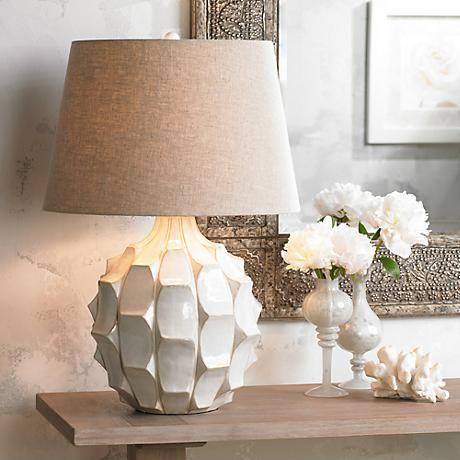 Cosgrove Round White Ceramic Table Lamp Mid Century