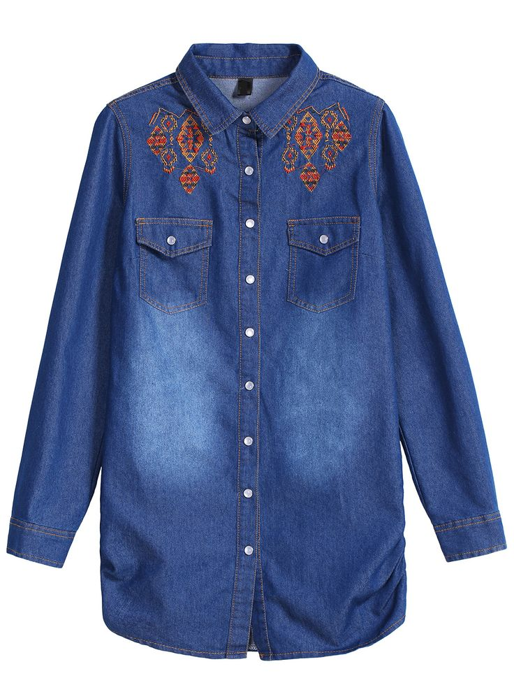 Bleached Embroidered Denim Navy Blouse 15.17