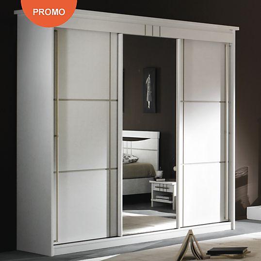 Soldes Armoire Camif, promo Armoire Mareva 3 portes miroir coulissantes blanc prix Soldes Camif 1979.00 € TTC au lieu de 2 119 €.