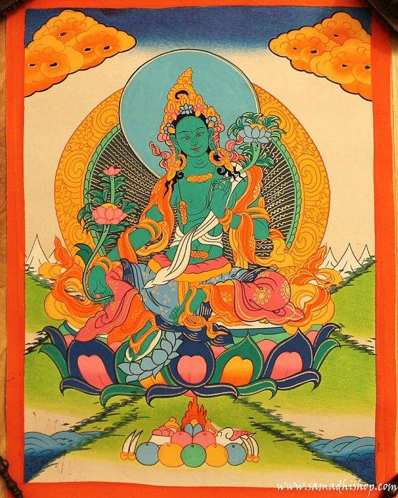 Green Tara bodhisattva thangka painting 30x40 cm by samadhishopcom