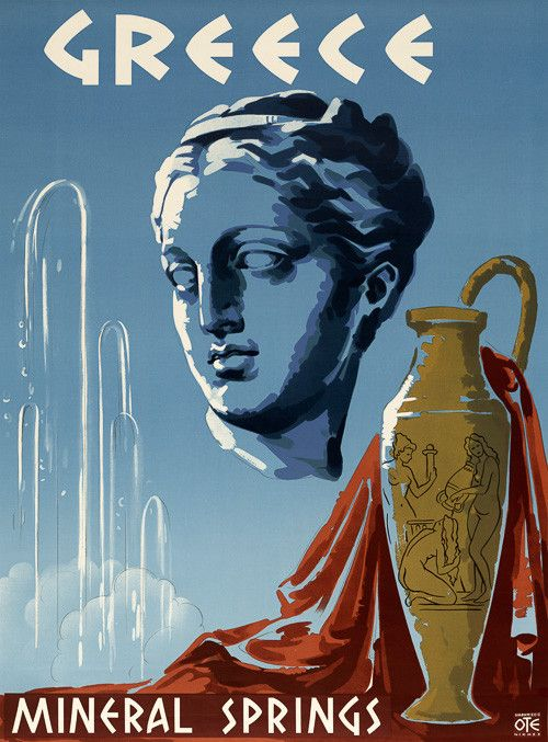 Greece Mineral Springs. Vintage travel poster showing the head of a Greek statue, 1953.