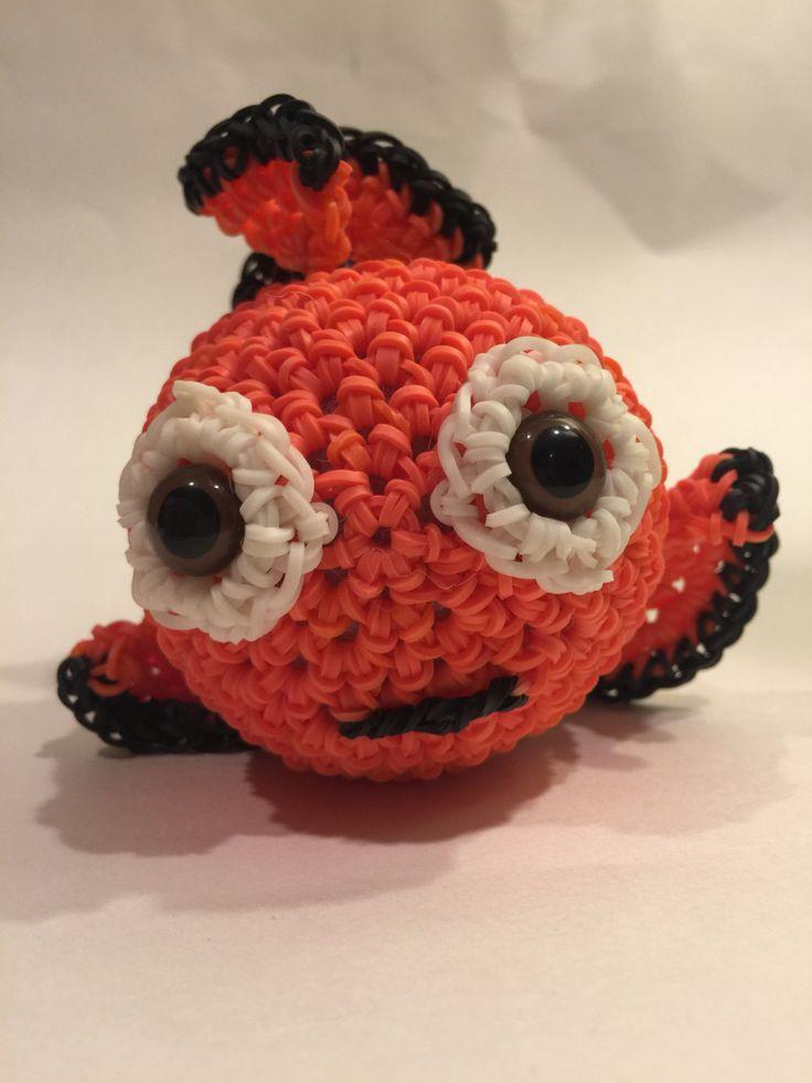 Disney's Nemo Rubber Band Figure by BBLNCreations on Etsy  Loomigurumi Amigurumi Rainbow Loom