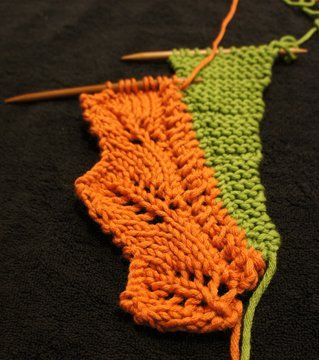 How to knit on an attached lace edging - shown in large scale for clarity