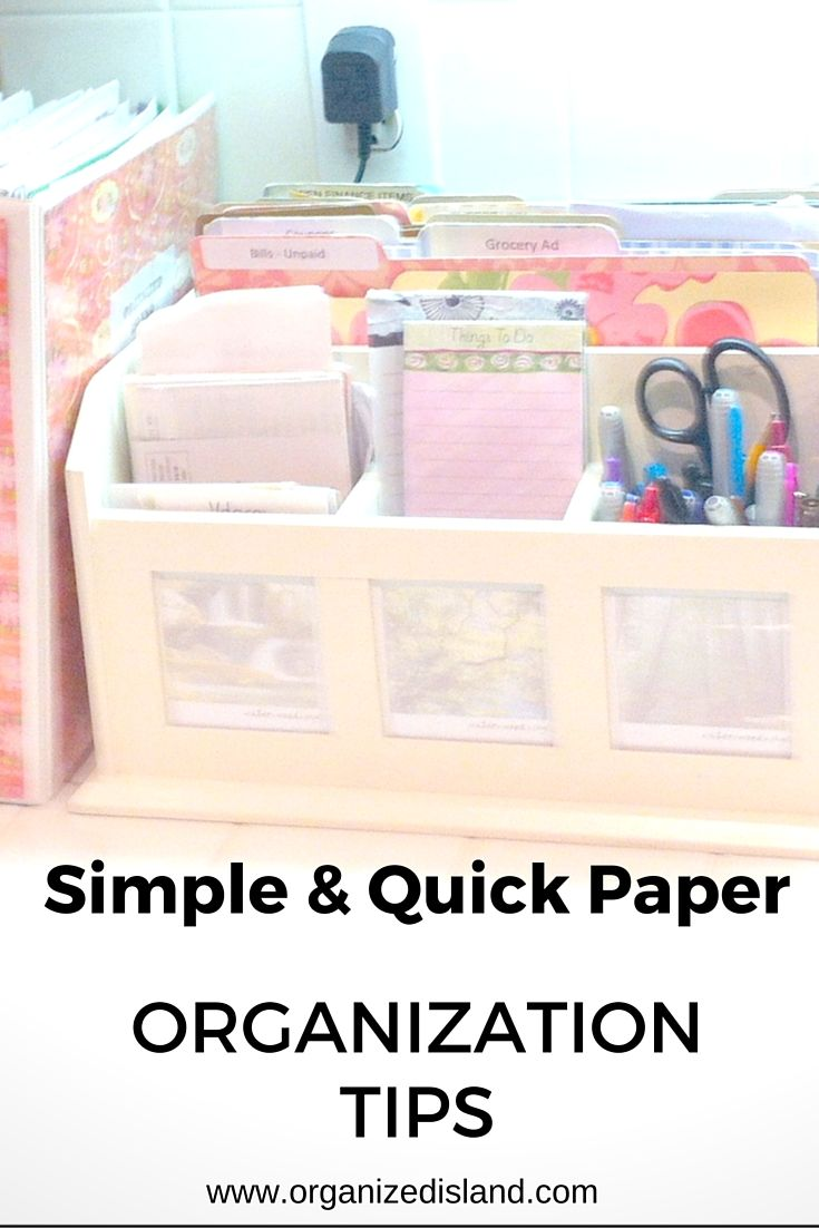 These tips for paper organization will help you organize your papers, bills and work. This paper management system includes file folders, binders and box.
