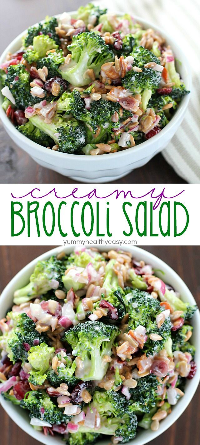 Creamy Broccoli Salad ~ full of fresh broccoli, red onion, dried cranberries, sunflower seeds and bacon mixed in a creamy, delicious dressing | yummyhealthyeasy.com More