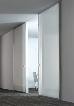 Modern interior sliding door featuring a white lacquered glass panel with stainless steel frame