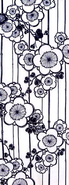 三勝手ぬぐい 四季の花一色シリーズ「梅」Japanese tenugui (towel)