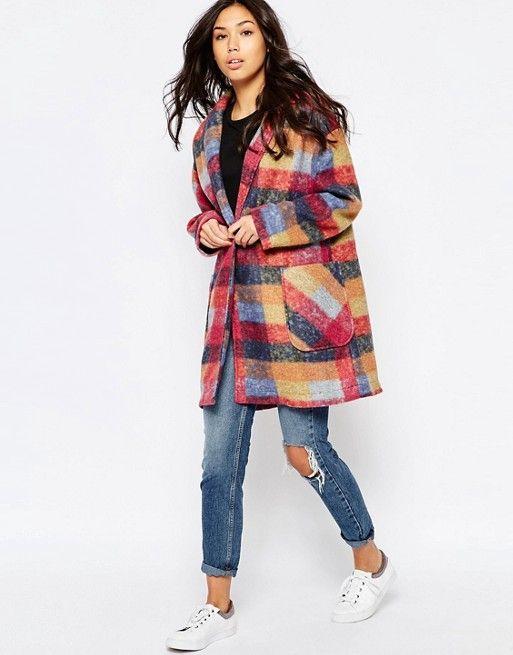 Native Youth   Oversize-пальто-кокон в клетку Native Youth