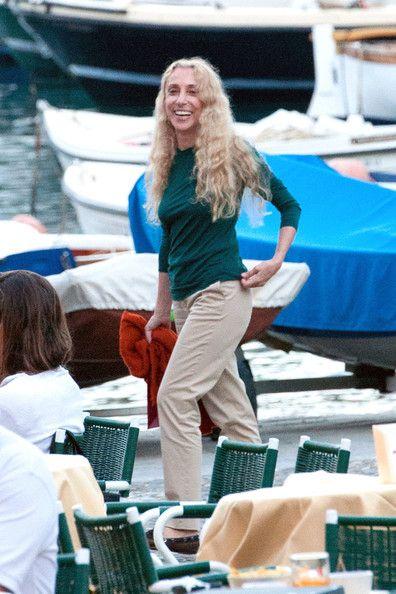 Franca Sozzani - Franca Sozzani, Italian journalist and editor-in-chief of Vogue Italia since 1988, is seen on holiday in Portofino with a f...