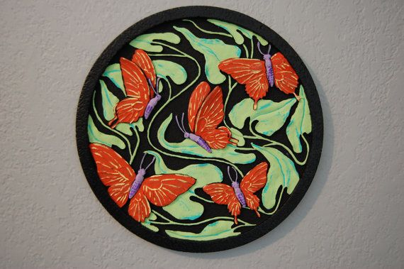 Bas Relief Butterfly Garden Or Wall Art By TheVintageArtistry