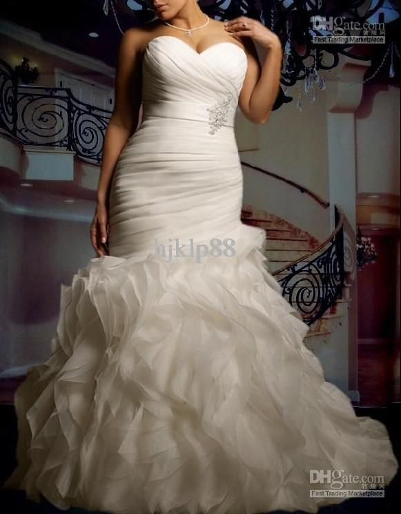 Wholesale New Custom Plus Size Sexy Sweetheart Strapless Beautifully Organza Mermaid Wedding Dress Bridal Gown, Free shipping, $106.4-151.2/Piece   DHgate